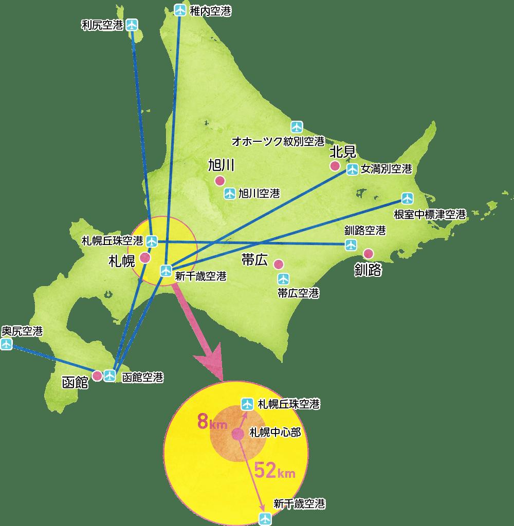 北海道飛行機路線図